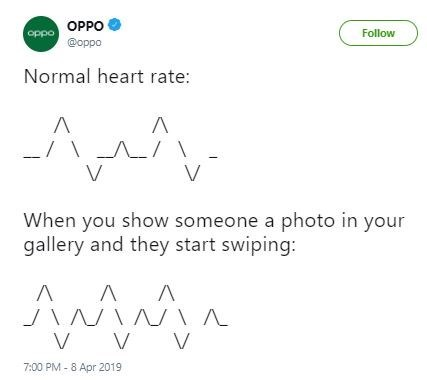 """Tweet that reads, """"Normal heart rate"""" above an ascii illustration of a normal heart rate, above a tweet that reads, """"When you show someone a photo in your gallery and they start swiping"""" above an ascii illustration of an increased heart rate"""