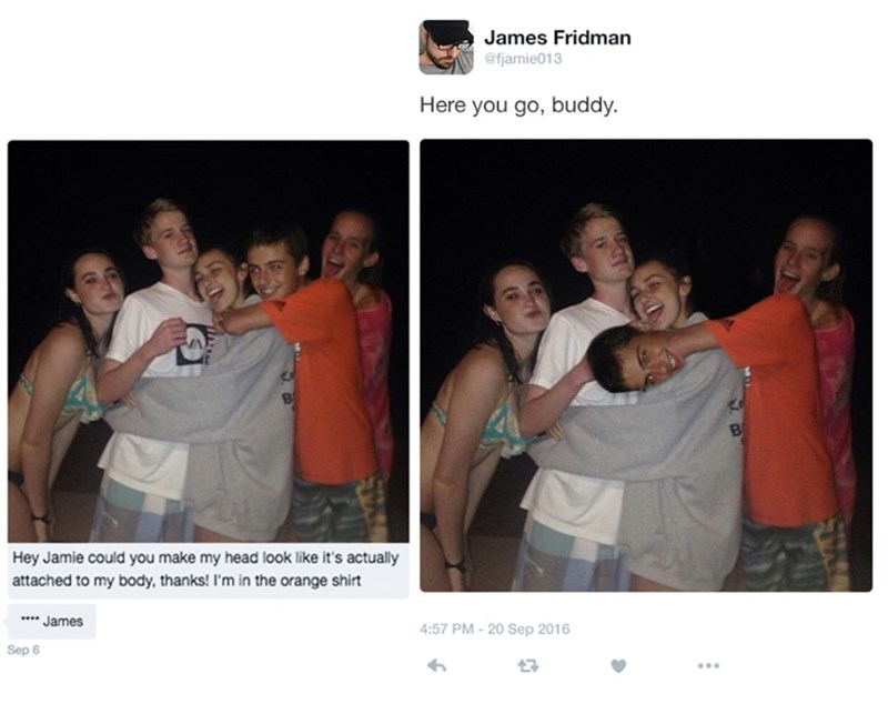 Someone sends James Fridman a photo asking if he will make his head look like it's actually attached to his body; Fridman replies with the kid's head photoshopped coming out of his arm