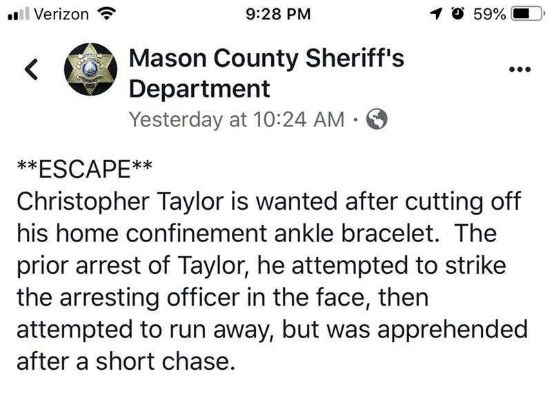 Mason County Sheriff's Department post on Facebook announcing a wanted person named Christopher Taylor