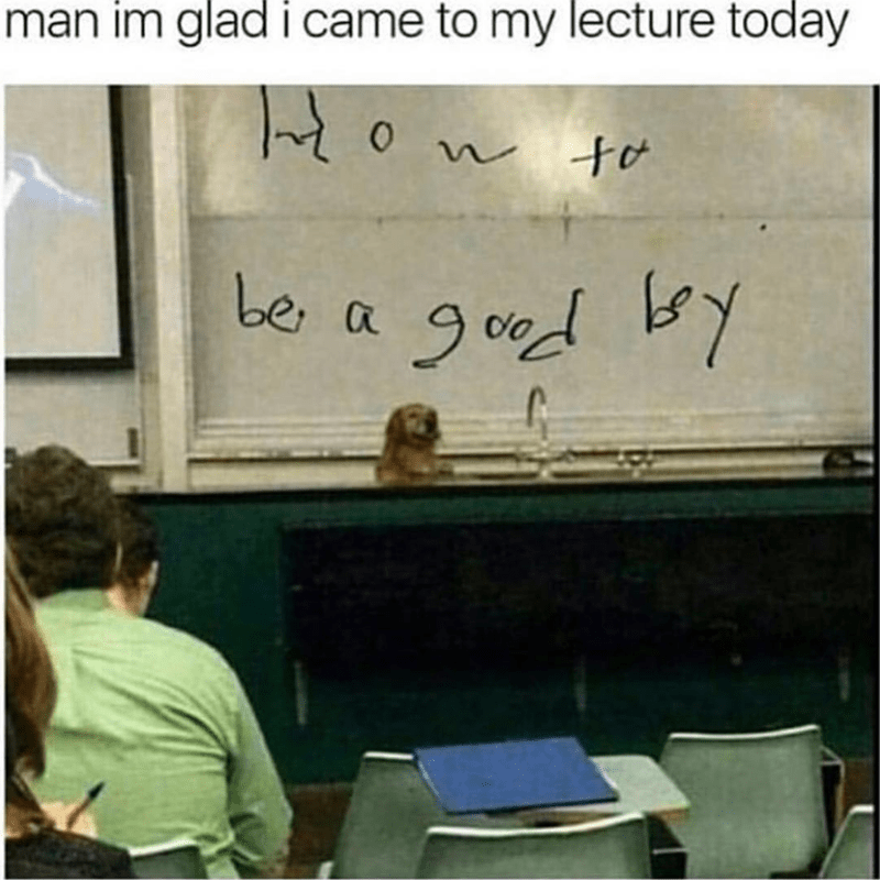 Text - man im glad i came to my lecture today be a gdd