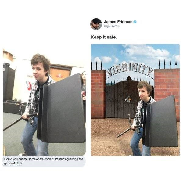 Product - James Fridman efjamie013 Keep it safe. MFIGINIT Could you put me somewhere cooler? Perhaps guarding the gates of Hell?