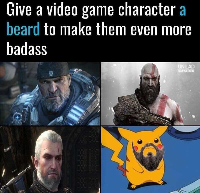 Human - Give a video game character a beard to make them even more badass UNILAD EAMING