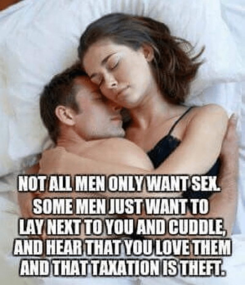 Text - NOT ALL MENONLYWANT SEX SOME MEN JUST WANT TO LAY NEXT TO YOU AND CUDDLE AND HEAR THAT YOULOVE THEM AND THATTAXATIONISTHEFT