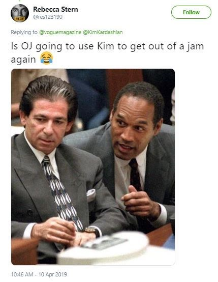 Text - Rebecca Stern Follow @res123190 Replying to@voguemagazine @KimKardashian Is OJ going to use Kim to get out of a jam again 10:46 AM- 10 Apr 2019
