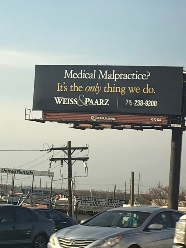Billboard - Medical Malpractice? It's the only thing we do. WEISS&PAARZ 215-238-9200 010122 RCEARQHANNEL United Rentals EDWARD KUGHES&SONS c PLUMBING HEATING AIR CONDITIONING