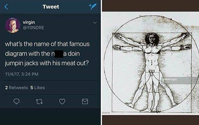 "Tweet that reads, ""What's the name of that famous diagram with the n*gga doing jumping jacks with his meat out?"" next to a photo of the Vitruvian Man drawing"