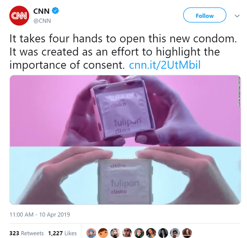 Product - CNN CAN Follow @CNN It takes four hands to open this new condom. It was created as an effort to highlight the importance of consent. cnn.it/2UtMbil clasico fulipun clasico clasico fulipan clásico 11:00 AM - 10 Apr 2019 323 Retweets 1,227 Likes TULIPAN ARGENTINAZTWITTER