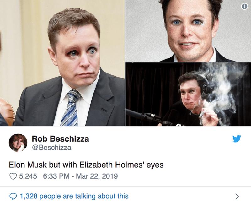 twitter post Elon Musk but with Elizabeth Holmes' eyes