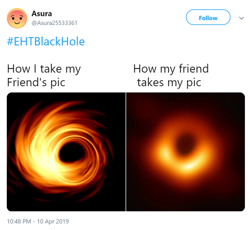 comparison of swirly in focus black hole and out of focus black hole how i take my friends pictures how my friend takes my pic twitter post