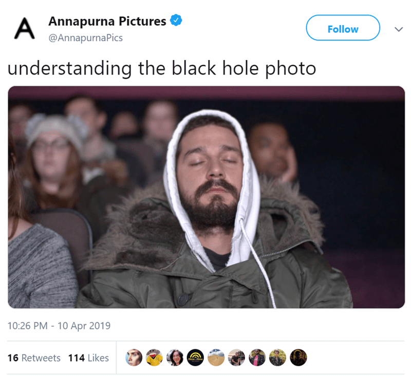 man with eyes closed twitter post understanding the black hole photo