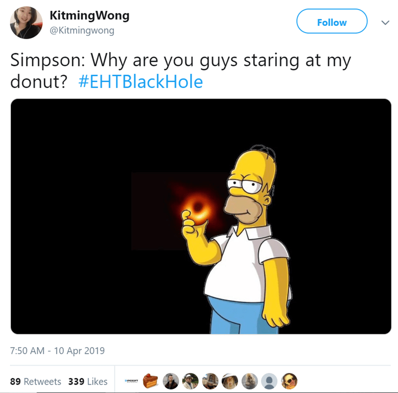 twitter post Simpson: Why are you guys staring at my donut? picture of homer simpson holding black hole like donut