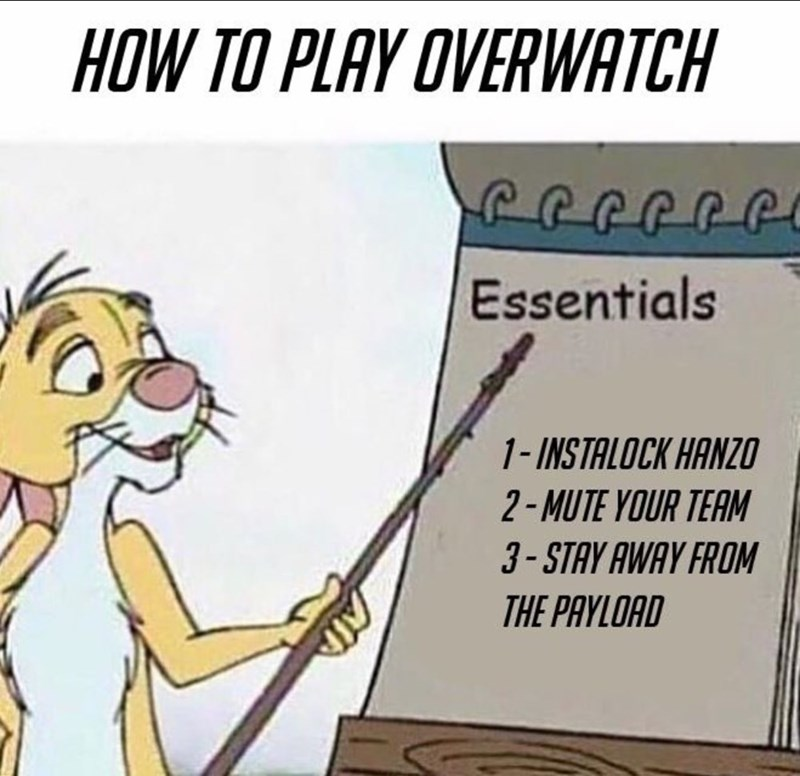 Cartoon - HOW TO PLAY OVERWATCH Essentials 1-INSTALOCK HANZO 2-MUTE YOUR TEAM 3-STAY AWAY FROM THE PAYLOAD