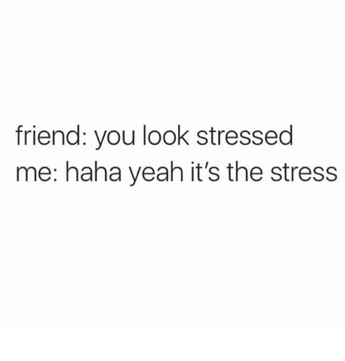 Text - friend: you look stressed me: haha yeah it's the stress