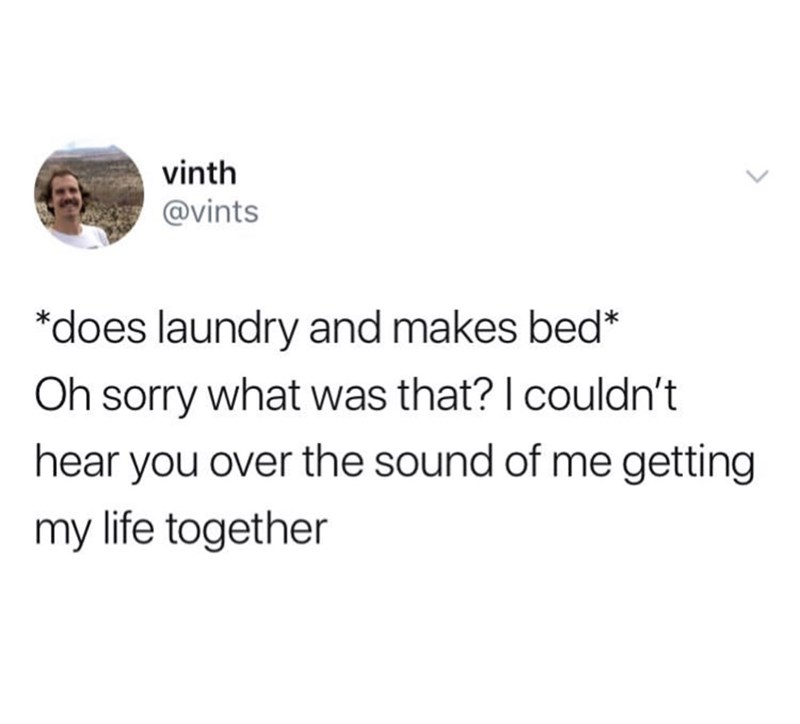 Text - vinth @vints *does laundry and makes bed* Oh sorry what was that? I couldn't hear you over the sound of me getting my life together