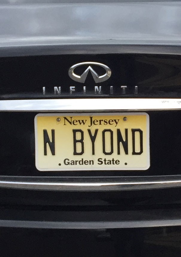 Vehicle registration plate - NFIN New Jersey N BYOND .Garden State .
