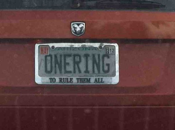 Vehicle registration plate - MAYA NA 12 ONERING TO RULE THEM ALL
