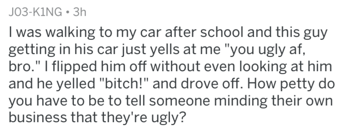 """Text I was walking to my car after school and this guy getting in his car just yells at me """"you ugly af, bro."""" I flipped him off without even looking at him and he yelled """"bitch!"""" and drove off. How petty do you have to be to tell someone minding their own business that they're ugly?"""