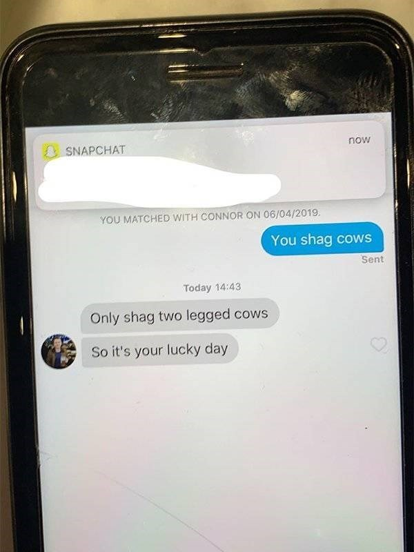 Text - now SNAPCHAT YOU MATCHED WITH CONNOR ON 06/04/2019. You shag cows Sent Today 14:43 Only shag two legged cows So it's your lucky day