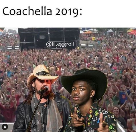 Meme about Lil Nas and Billy Ray Cyrus performing at Coachella