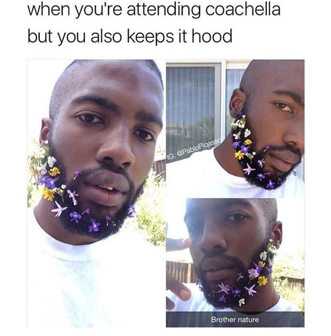 Brother Nature staying hood while attending Coachella with pics of a black man with flowers in his beard