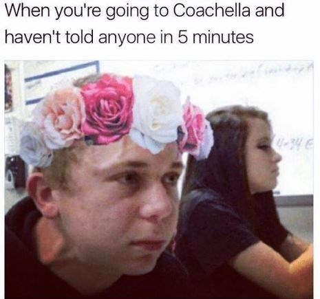 Boy in flower crown looking pained and with veins popping out when holding back from talking about Coachella