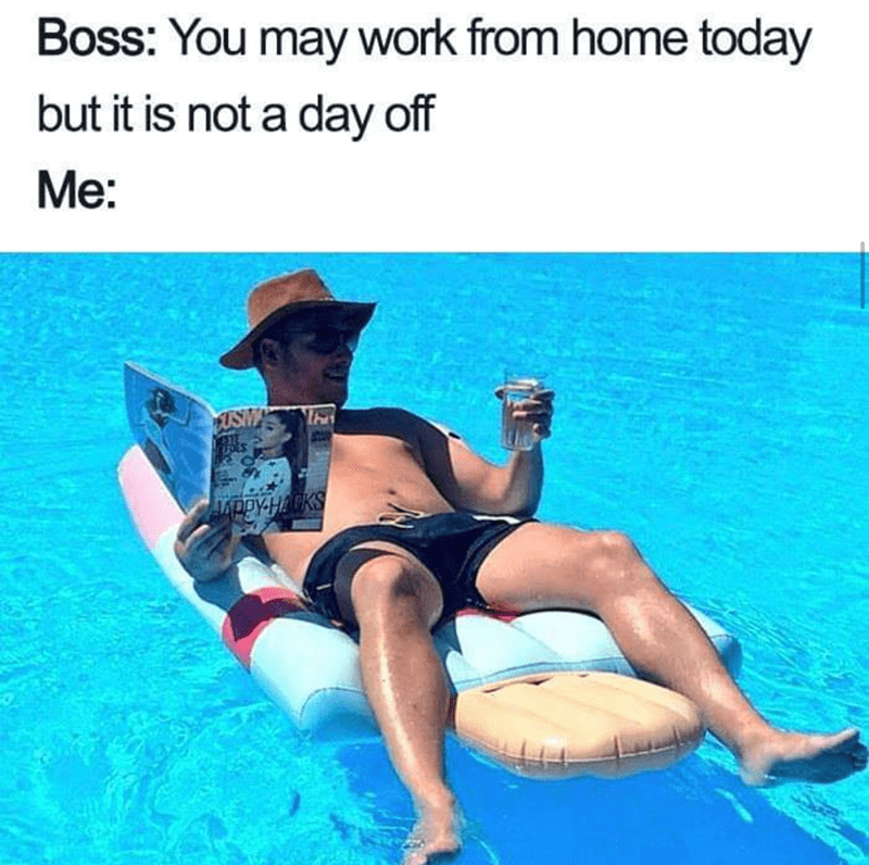 work meme - Leg - Boss: You may work from home today but it is not a day off Me: FUSM APPY-HACKS