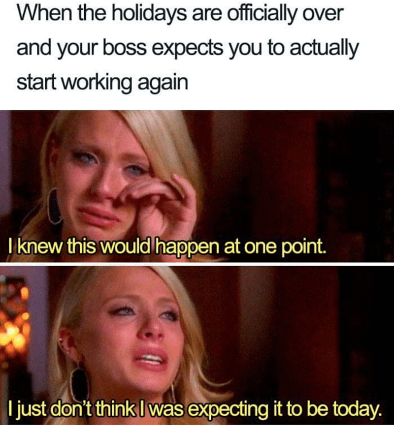 work meme - Facial expression - When the holidays are officially over and your boss expects you to actually start working again Tknew this would happen at one point. I just don't think Iwas expecting it to be today.