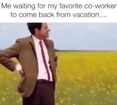 work meme - Adaptation - Me waiting for my favorite co-worker to come back from vacation....
