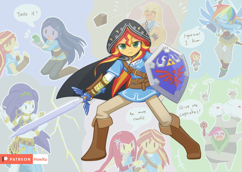 applejack equestria girls twilight sparkle legend of zelda pinkie pie rarity sunset shimmer rainbow dash - 9293841152