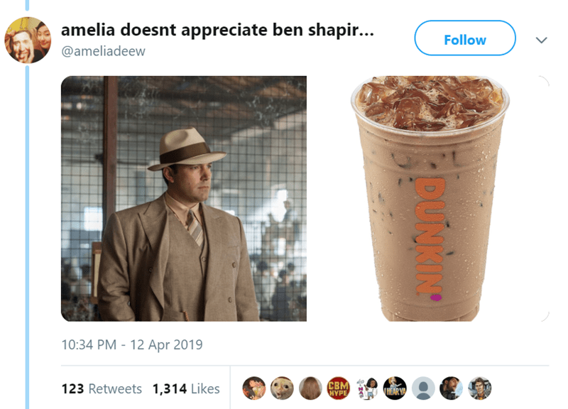 Product - amelia doesnt appreciate ben shapir... Follow @ameliadeew 10:34 PM 12 Apr 2019 CBM HYPE 123 Retweets 1,314 Likes HEAR Y > DUNKING