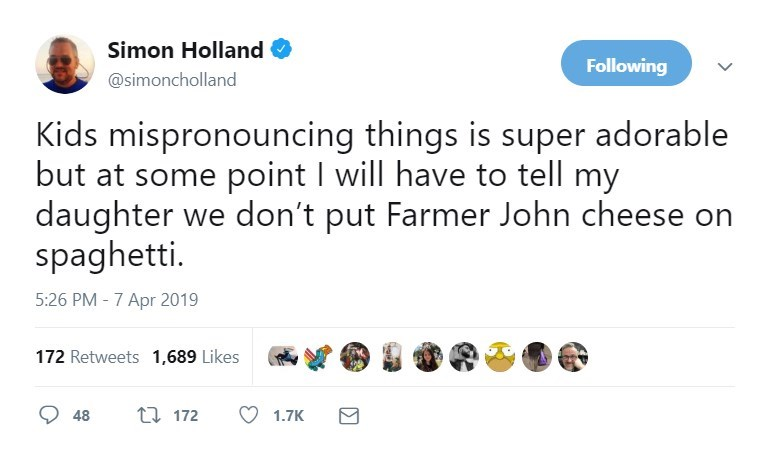 twitter post Kids mispronouncing things is super adorable but at some point I will have to tell my daughter we don't put Farmer John cheese on spaghetti