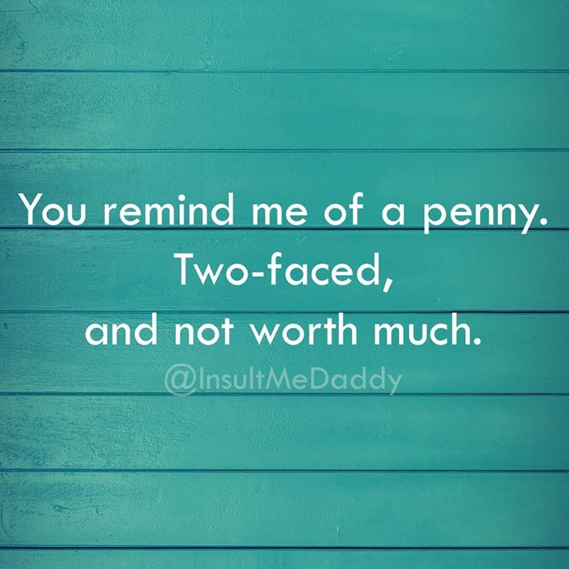 Text - You remind me of a penny. Two-faced, and not worth much. @InsultMeDaddy