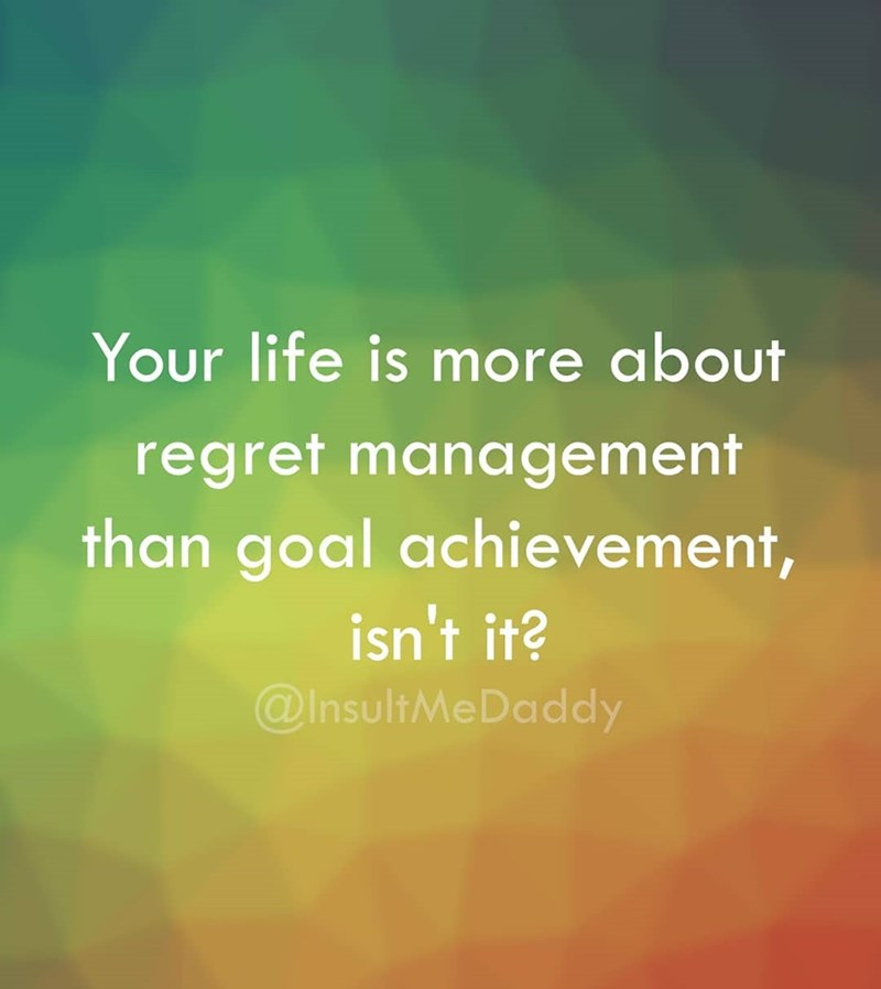 Text - Your life is more about regret management than goal achievement, isn't it? @InsultMeDaddy