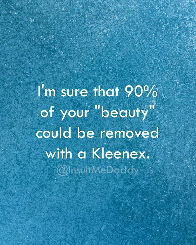 "Text that reads, ""I'm sure that 90% of your 'beauty' could be removed with a Kleenex"""