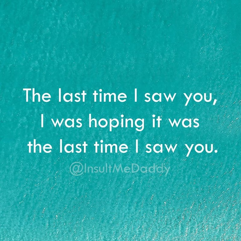 Text - The last time saw yoU, I was hoping if was the last time I saw you. @InsultMeDadcy