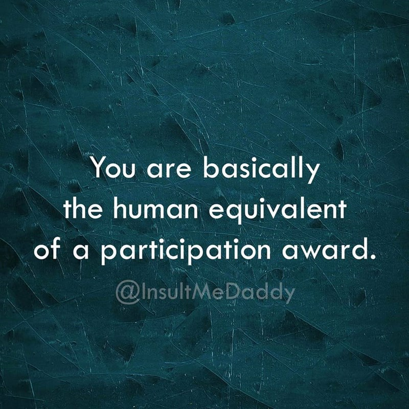 Text - You are basically the human equivalent of a participation award. @InsultMeDaddy