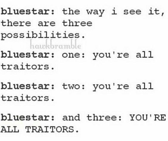Text - bluestar: the way i see it, there are three possibilities. haukbramble bluestar: one: you're all traitors bluestar: two: you're all traitors bluestar: and three: YOU'RE ALL TRAITORS