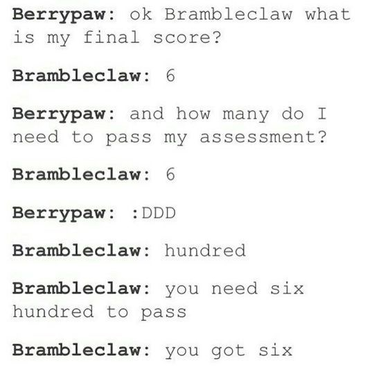 Text - Berrypaw ok Brambleclaw what is my final score? Brambleclaw: 6 Berrypaw: and how many do I need to pass my assessment? Brambleclaw: 6 Berrypaw DDD Brambleclaw: hundred Brambleclaw you need six hundred to pass Brambleclaw you got six