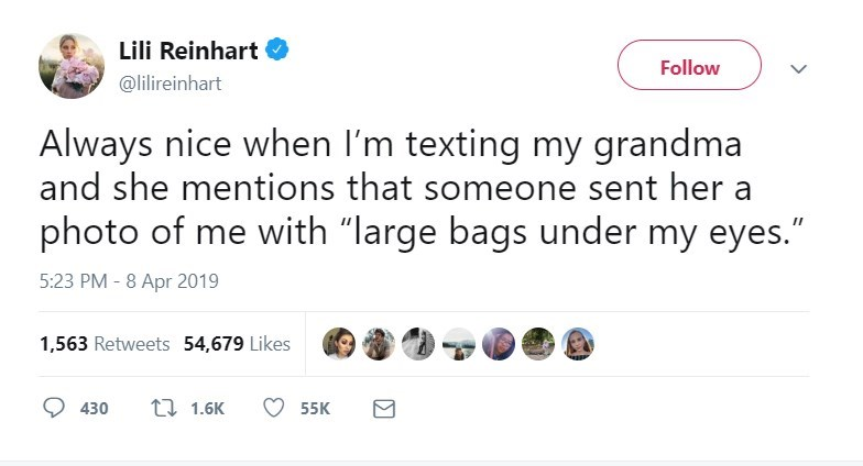 """twitter post Always nice when I'm texting my grandma and she mentions that someone sent her photo of me with """"large bags under my eyes."""""""