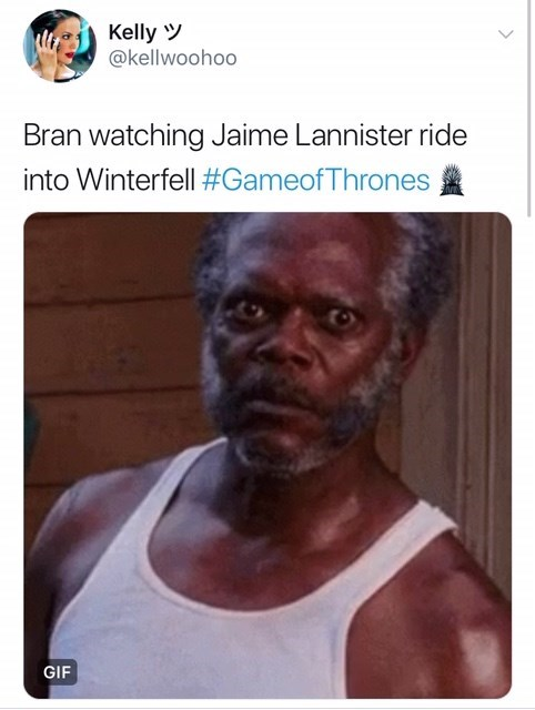 Text - Kelly @kellwoohoo Bran watching Jaime Lannister ride into Winterfell #GameofThrones GIF