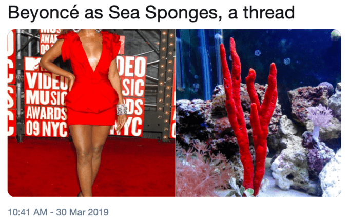 Red - Beyoncé as Sea Sponges, a thread AWA DEO SIC DS YC VIDEO MUSIC AWARDS NYC 10:41 AM -30 Mar 2019
