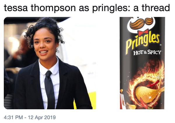 Poster - tessa thompson as pringles: a thread Pringles НОT& SPICY 4:31 PM -12 Apr 2019
