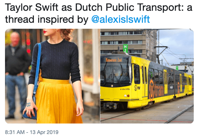 Transport - Taylor Swift as Dutch Public Transport: a thread inspired by @alexislswift vese ond u-ov.info 8:31 AM -13 Apr 2019