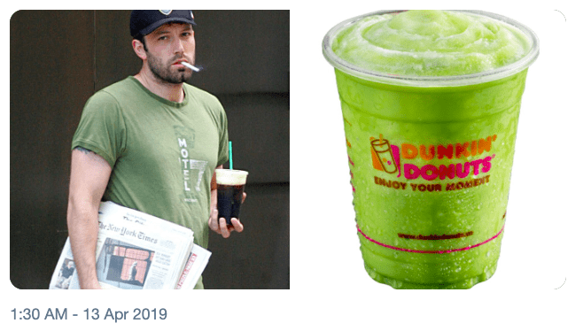 Green - DUNKIN DONUTS ENOY YOUR AOEIT ork Emes 1:30 AM 13 Apr 2019