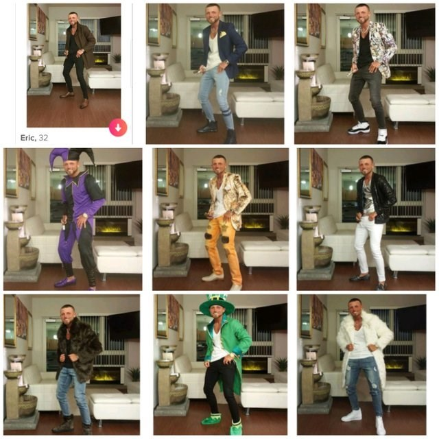 9 pictures guy posing in different clothes