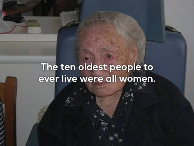 Face - The ten oldest people to ever live were all women.