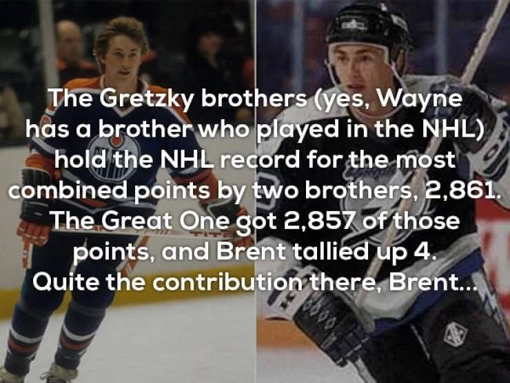 Photo caption - The Gretzky brothers (yes, Wayne has a brotherwho played in the NHL) hold the NHLrecord for the most combined points by two brothers, 2.861 The Great One got 2,857 of those points, and Brent tallied up 4 Quite the contribution there, Brent.. 38 00