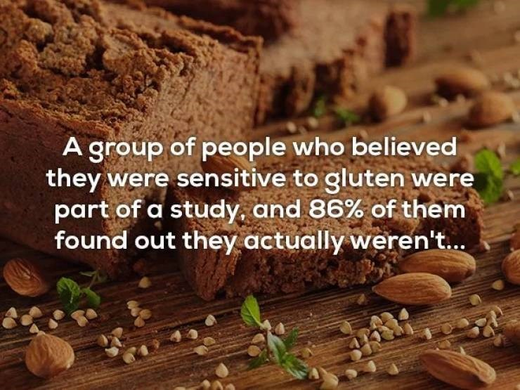 Food - A group of people who believed they were sensitive to gluten were part of a study, and 86% of them found out they actually weren't...