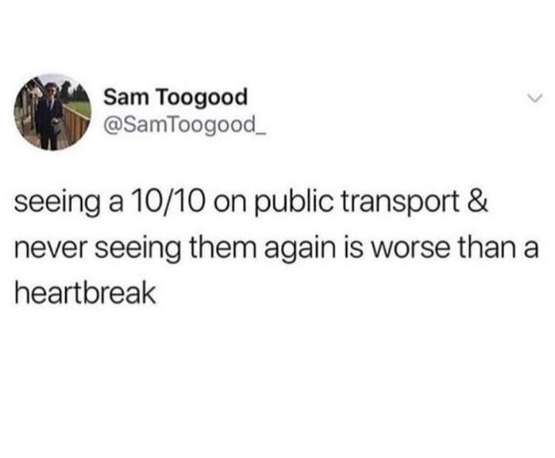 "Tweet that reads, ""Seeing a 10/10 on public transport and never seeing them again is worse than a heartbreak"""