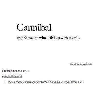 literal joke - Text - Cannibal (n.) Someone who is fed up with people. tactuallymcans.tumbir.com tactuallymeans.com annabellioncourt YOU SHOULD FEEL ASHAMED OF YOURSELF FOR THAT I